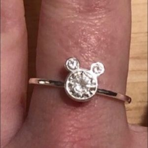 Adorable silver Mickey Mouse cubic zirconia ring